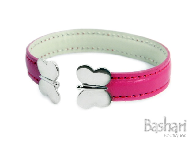 Leather Magenta Butterfly Bracelet with silver ends  by Bashari Boutiques.