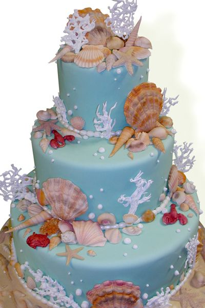 Beach-themed wedding cake Cake Boss