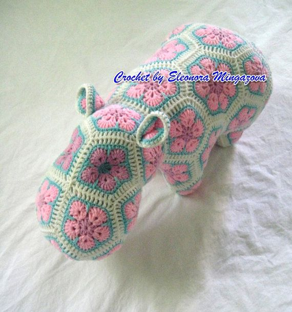 Hand Crochet : Handmade Hand Crochet Hippopotamus Baby Toy granny by mingazova, $50 ...
