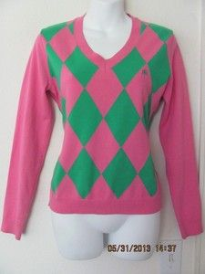 Women'S Pink And Green Argyle Sweater 119