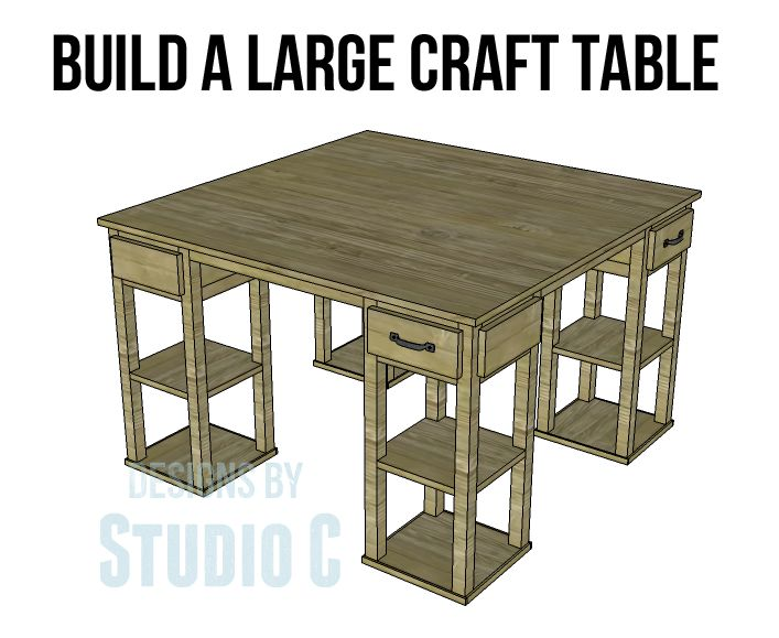 build a large craft table to build free woodworking. Black Bedroom Furniture Sets. Home Design Ideas