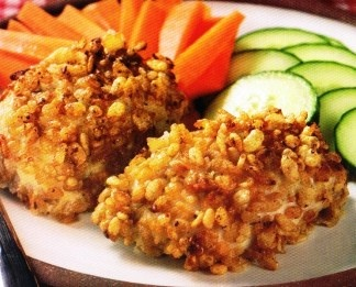 crispy ranch chicken The crispy part is rice crispy cereal !
