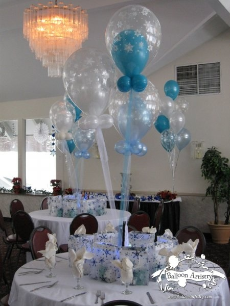 Winter themed print balloon centerpiece baby shower
