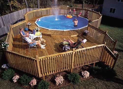 Pin by kim gravert on outdoors pinterest for Above ground pool decks attached to house
