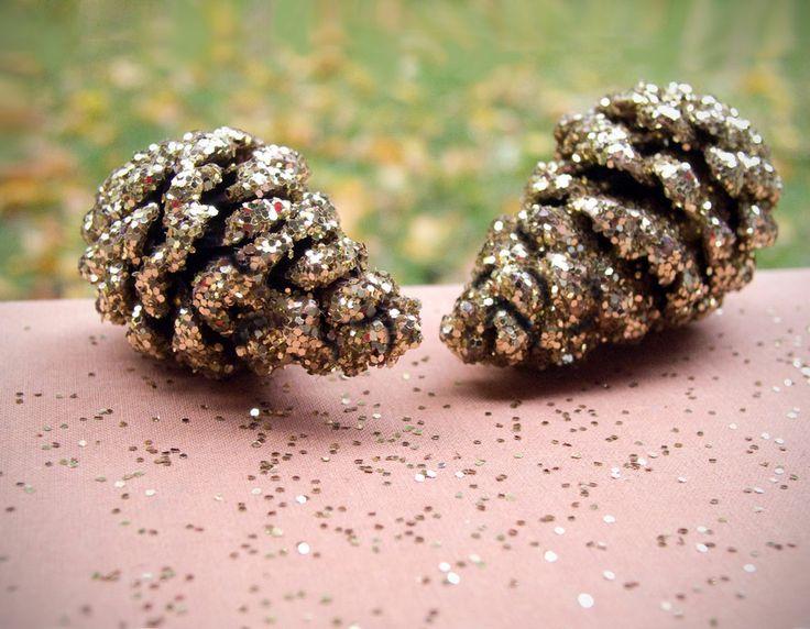 Glitter pine cone decorations x mas pinterest