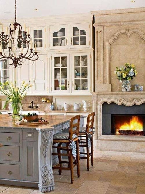 French Country Kitchen With Fireplace Kitchens In White