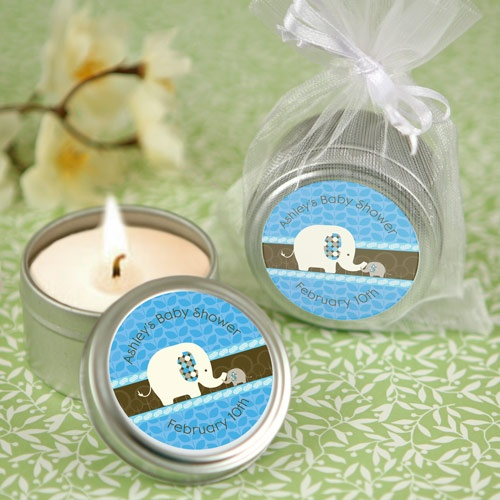 blue baby elephant candle tin personalized baby shower favors
