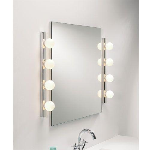 light globes around the mirror lights pinterest. Black Bedroom Furniture Sets. Home Design Ideas