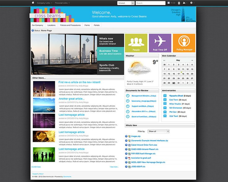 gallery for intranet design inspiration