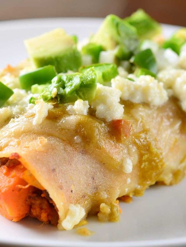 Chorizo and Sweet Potato Enchiladas with Green Chile Sauce