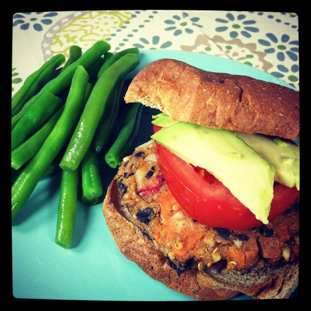 Sweet potato quinoa black bean burgers with cranberries. This is ...