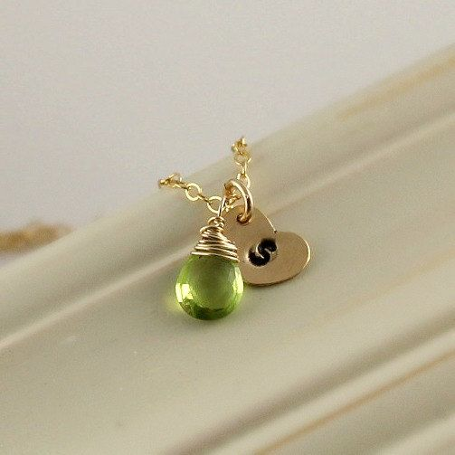 August birthstone necklace peridot monogram necklace personalized g