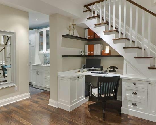 Great basement office idea - genius!  home ideas  Pinterest