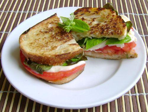Basil, Tomato, and Mozzarella Sandwich | Food Ideas | Pinterest