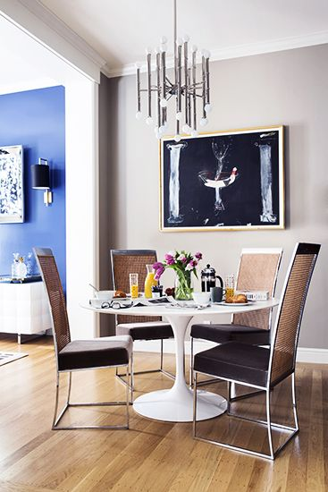 Designer Crush: @Catherine Wong // breakfast nook, mod chrome chandelier, cane chairs, tulip table