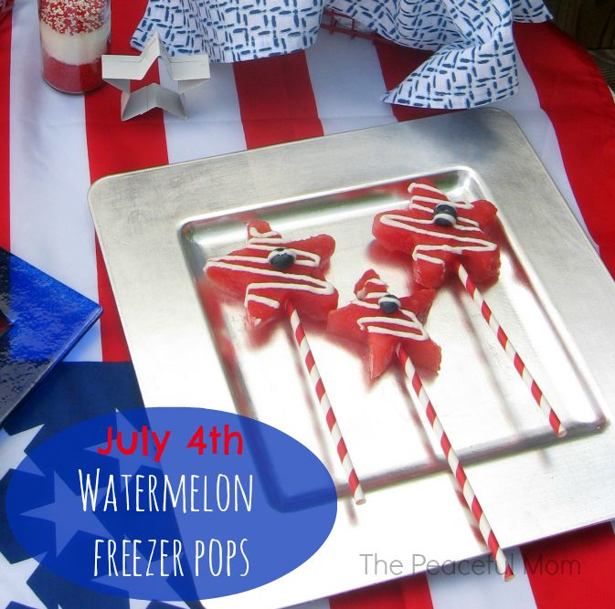 July 4th Party Food - Watermelon Freezer Pops from ThePeacefulMom.com ...