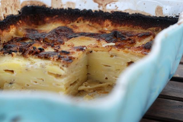 Warm Potato Gratin with Goat Cheese and Garlic