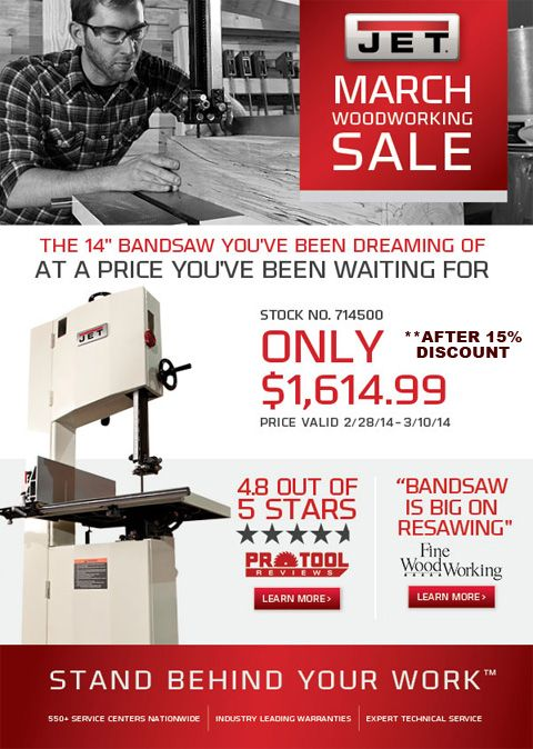 Jet Bandsaw JWBS-14SF | Product Reviews - Power Tools | Pinterest