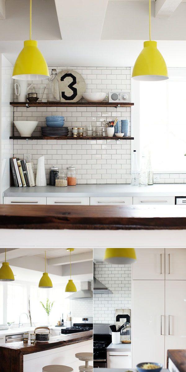 Subway tiles in kitchen