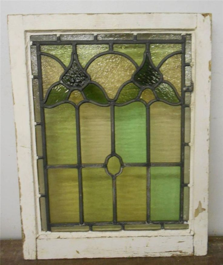 Victorian english leaded stained glass window green leaf for Window glass design 5 serial number