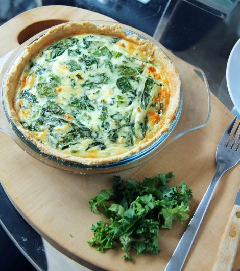 Spinach, Kale and Feta Quiche - making your own crust too