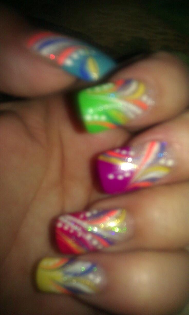 Rainbow Nails design by Tru Nails Studio Bloomington-Normal Illinois