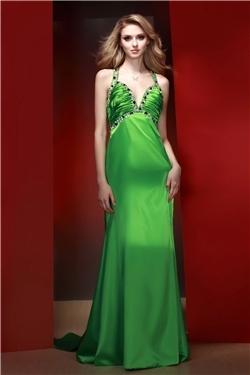 Cheap chiffon a line sweetheart court train evening dress inspired by