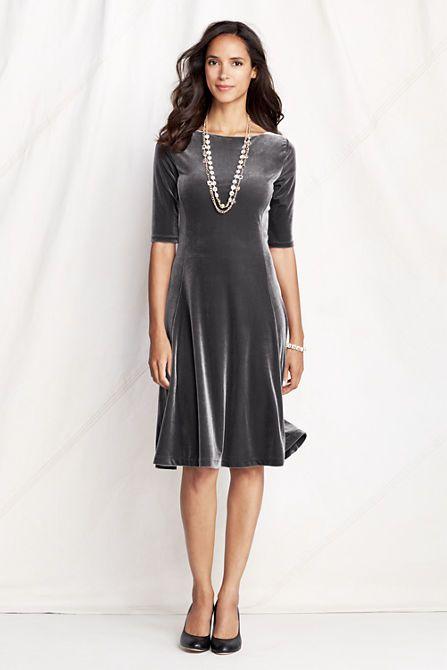 Women s elbow sleeve velvet dress from lands end
