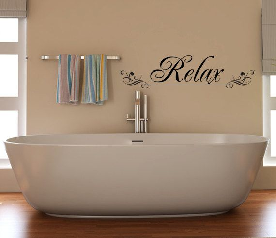 relax vinyl decal wall art for a bathroom spa salon home or office