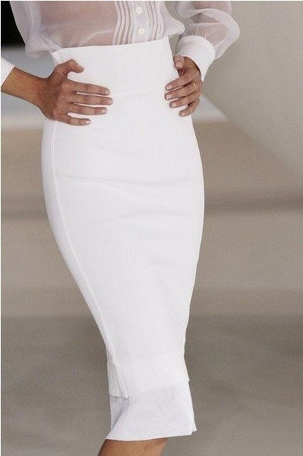 White High Waist Pencil Skirt | Style | Pinterest