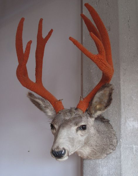 """Dollarville 8 pointer"" by Amy Vogel -- knitted wool antler covers #knit #knitting #art"