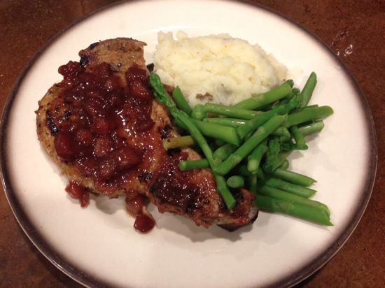 Janetha's pork chops with apple cranberry chutney, mashed potatoes ...
