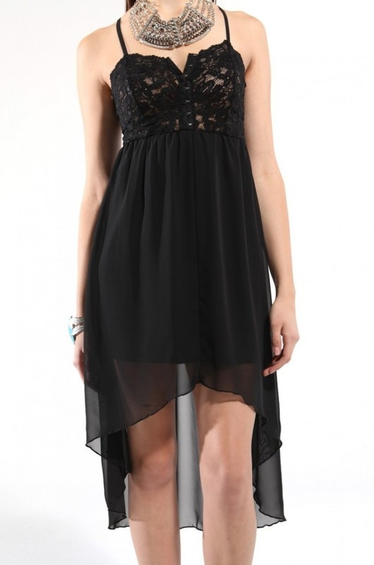 Lace & Chiffon High-Low Dress in Black
