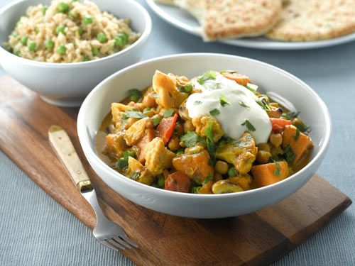 Vegetable & Chickpea Korma with Spicy Rice #vegan