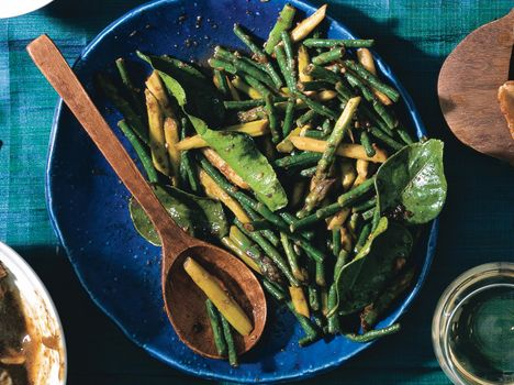 Stir-Fried Asparagus and Snake Beans with Chile Jam and Kaffir Lime ...