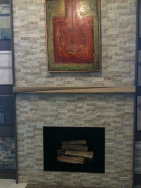 Stacked Stone Look In A Porcelain Tile Fireplaces Pinterest