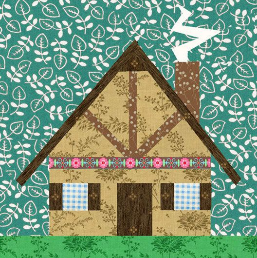 Quilt Block Patterns Of Houses : Grandma s House paper pieced quilt block pattern PDF