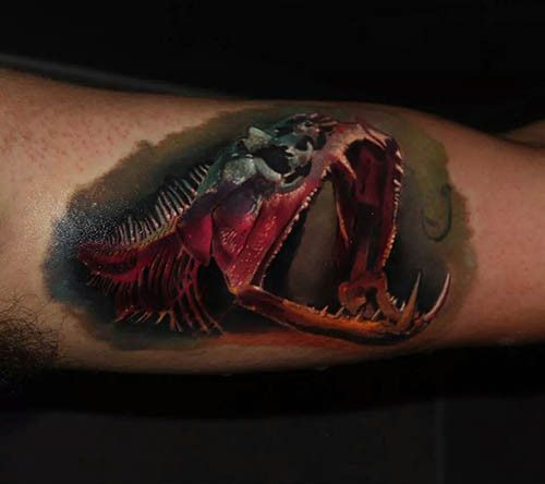Piranha skeleton tattoo - photo#3