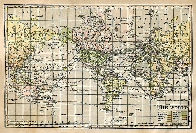 world map from 1914 Maps Pinterest