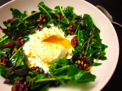 YUM Dandelion salad in a bagna cauda vinaigrette with poached egg ...
