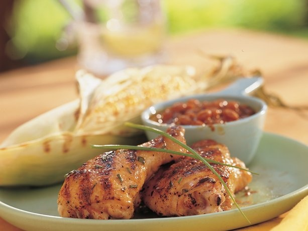... (it only calls for seven ingredients) Maple-Mustard Glazed Chicken