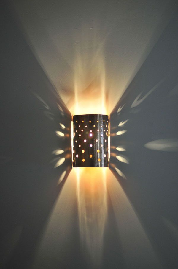 Perforated copper wall light Wall lights Pinterest