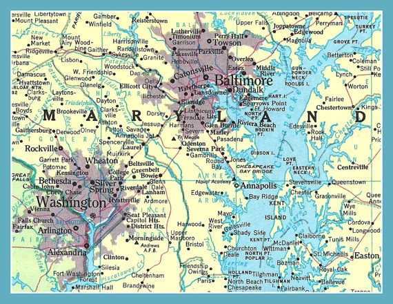 Fridge Magnet Map Of Baltimore Maryland And By