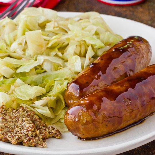 Glazed Chicken Sausage with Sauteed Cabbage from The Kitchn (http ...