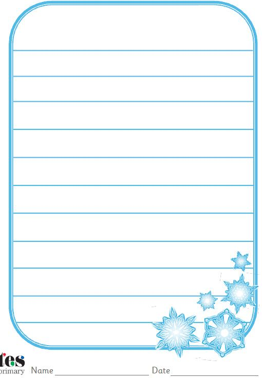 winter writing paper This is a packet of writing papers with borders to utilize in the winter time and for december holidays there is a writing paper option for everyone this packet includes: - 6 elementary (wide spaced lines) writing papers - 6 middle and high ( single spaced lined) writing papers.