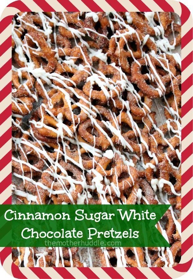 Cinnamon Sugar White Chocolate Pretzels. | Food | Pinterest