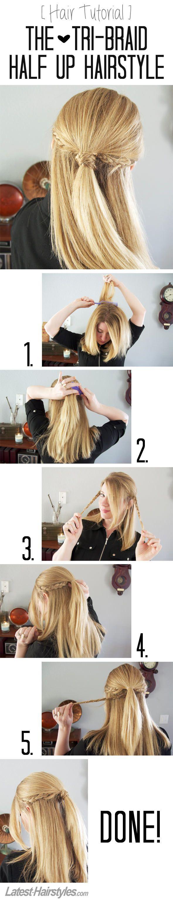 Hair Tutorial The Tri-Braid Half Up Hairstyle