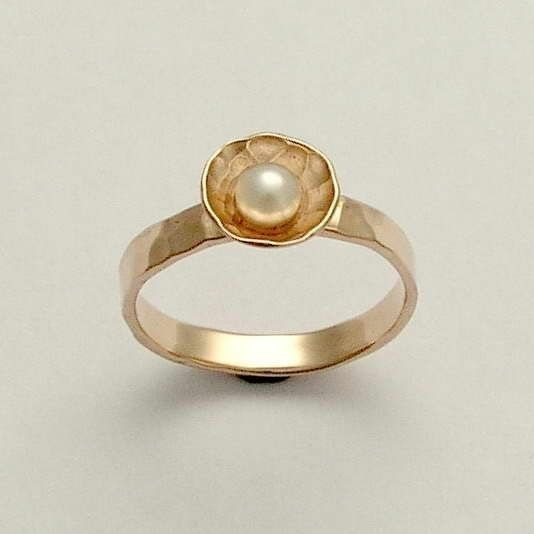 Rose gold ring engagement ring gold pearl ring hammered gold ring …