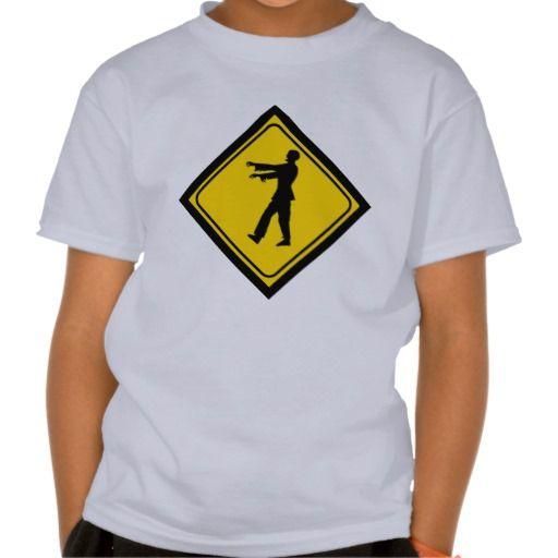 Funny zombie crossing sign tshirt zombie walkingdead warningsign