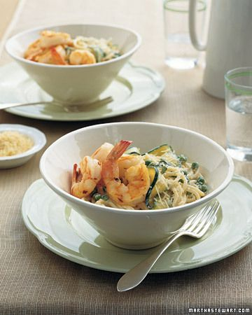 Garlic Shrimp paired w/ Spaghetti with Peas and Zucchini Ribbons